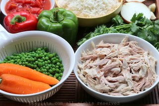 Ingredients for Latin style rice with chicken or turkey