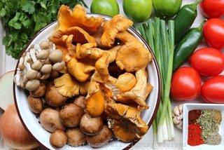 Ingredients for mushroom tortilla soup