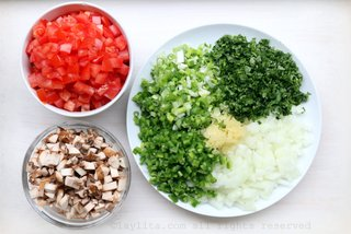 Diced vegetables for mushroom soup
