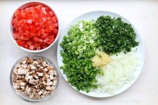 Diced vegetables for mushroom soup