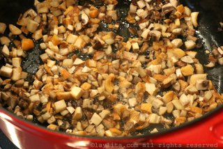 Cook the diced mushrooms