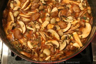 Add the mushrooms when the broth is boiling and cook for another 10-15 minutes