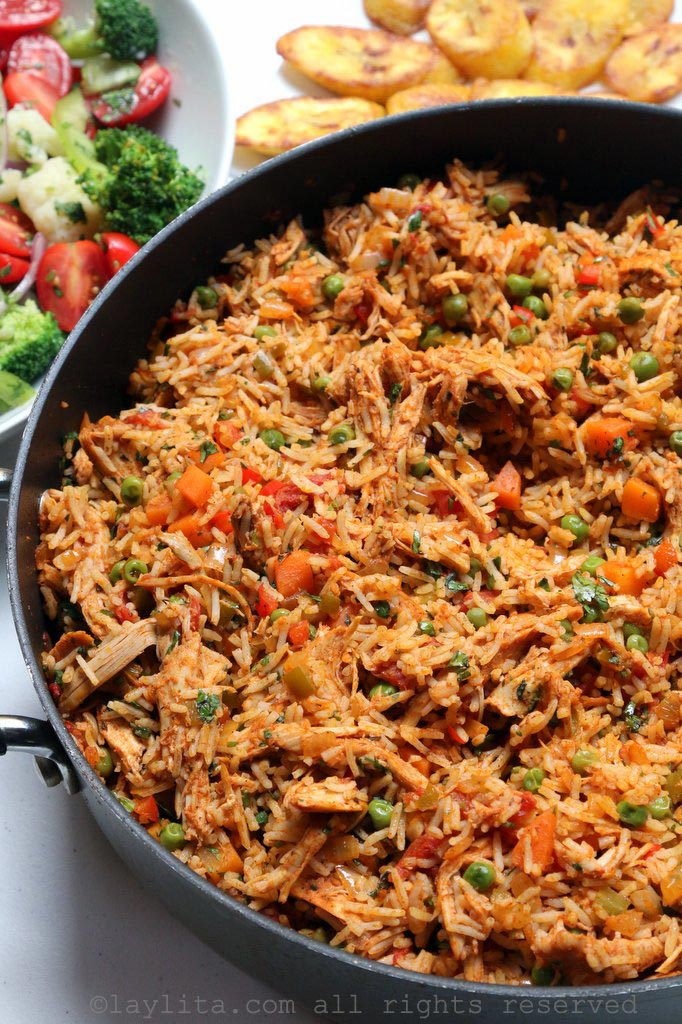 Arroz con pollo style rice made with leftover turkey or chicken