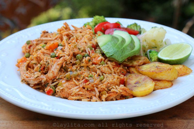 Arroz con pollo style rice made with turkey leftovers