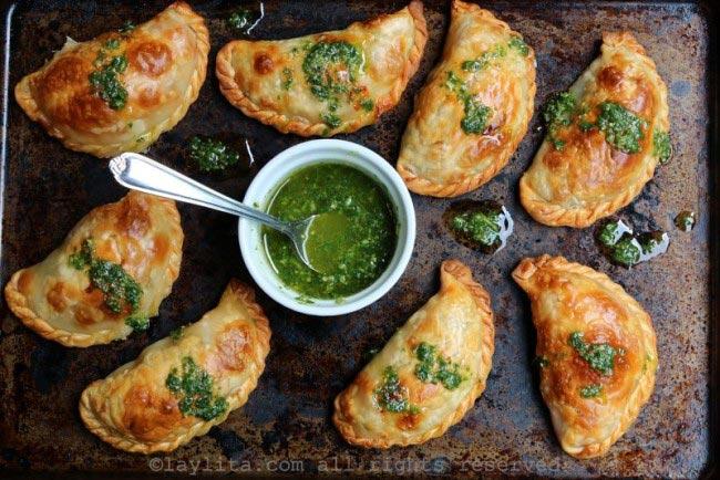 Caprese empanadas with basil sauce