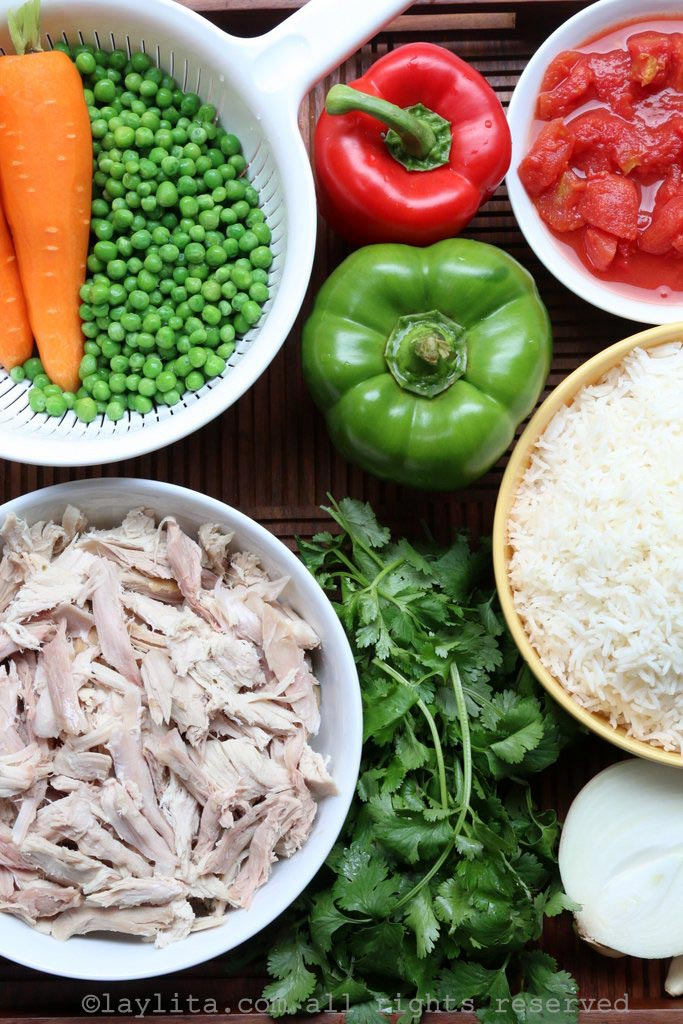Ingredients for easy arroz con pollo