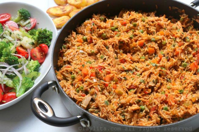 Latin style rice with chicken or turkey