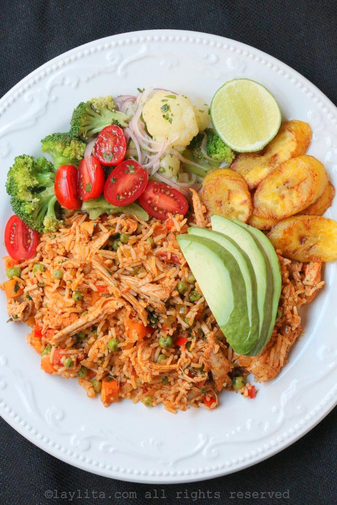 Latin style rice with chicken or turkey {Arroz con pollo o pavo}