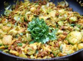 Sauteed brussels sprouts with chorizo and cilantro