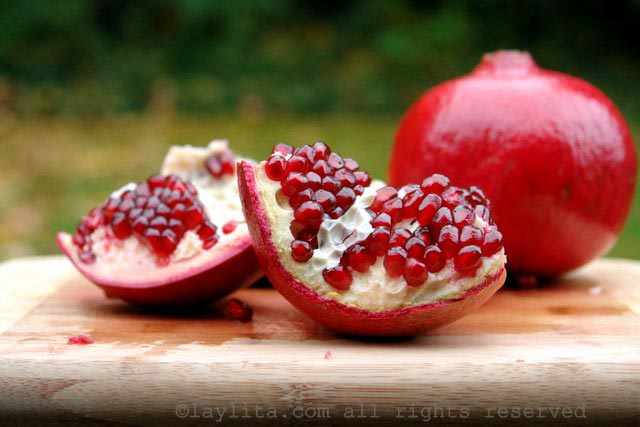 Fresh ripe pomegranate to make salsa