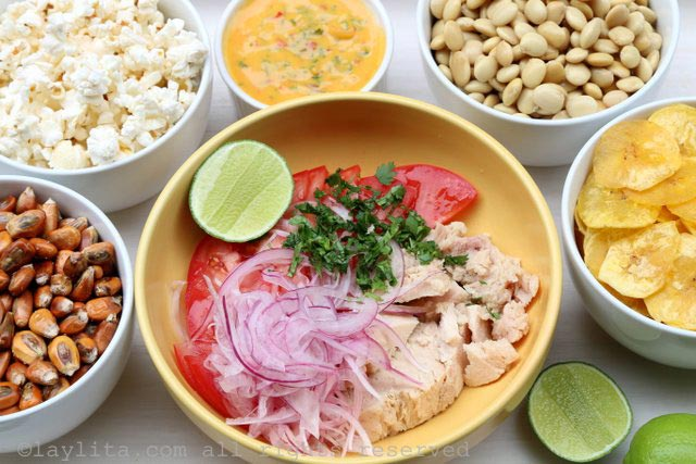 Ingredients for Ecuadorian tuna fish ceviche or ceviche volquetero