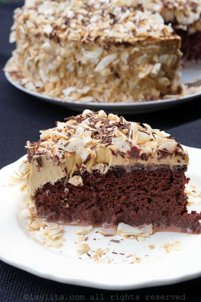 Tres leches chocolate cake with caramel frosting