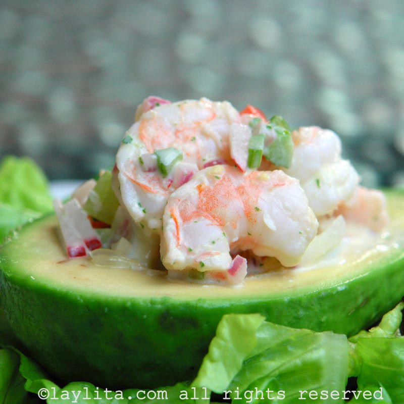 Avocado with shrimp salad