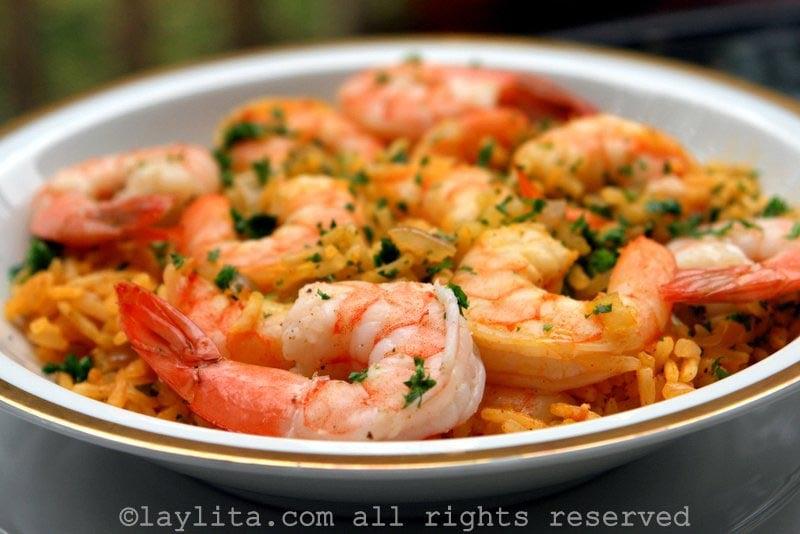 Rice with shrimp or arroz con camarones