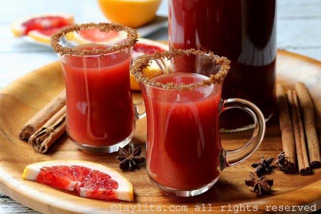 Canelazo style blood orange and cinnamon drink