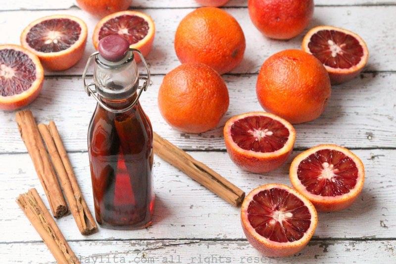 Cinnamon infused aguardiente or rum