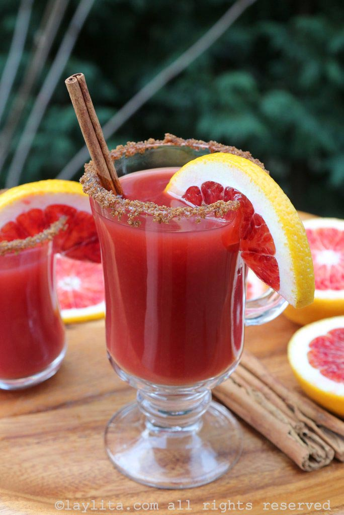 Hot mulled blood orange cocktail
