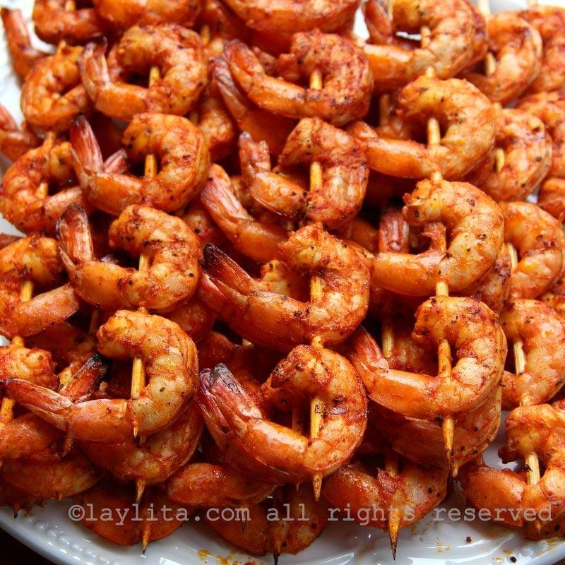 Grilled passion fruit shrimp skewers