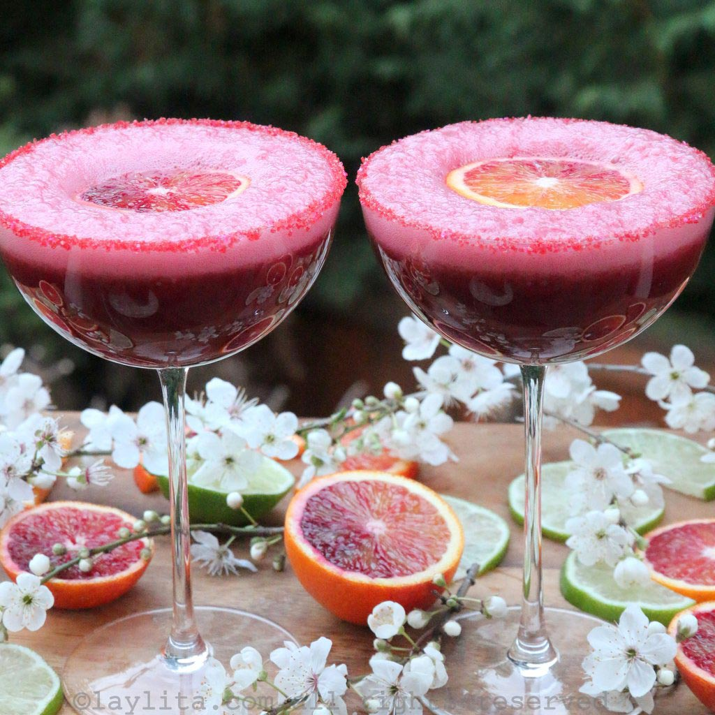 Pisco sour cocktail with blood oranges