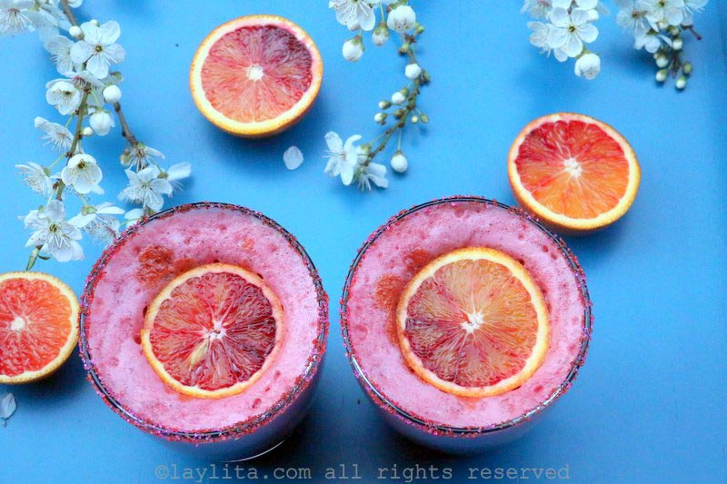 Pisco sour with blood oranges