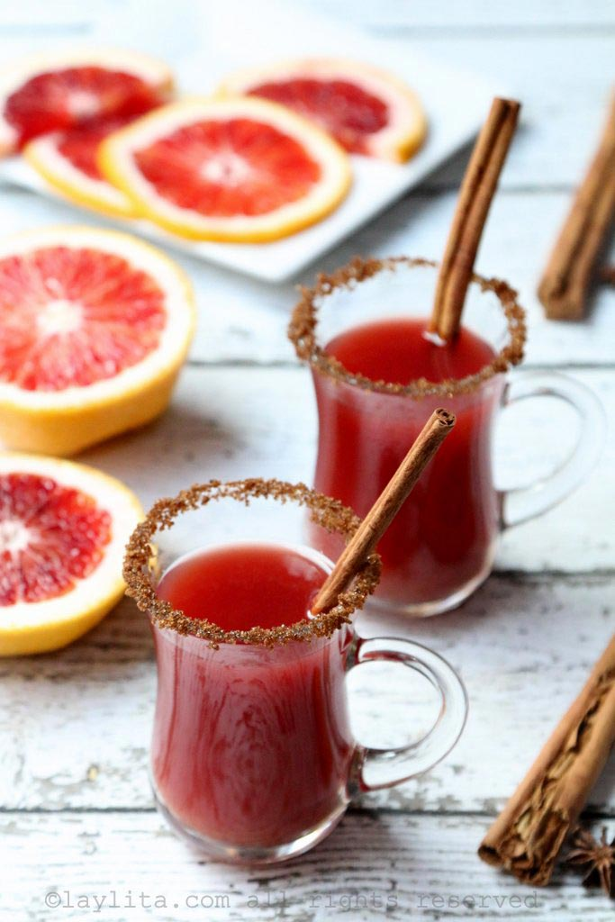 Warm spiced blood orange and rum cocktail
