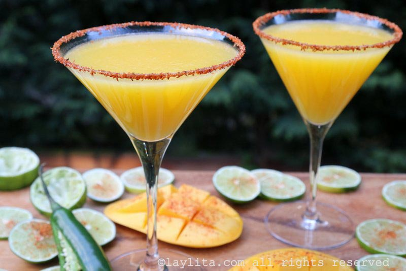 Serve the mango margaritas in Tajin rimmed glasses