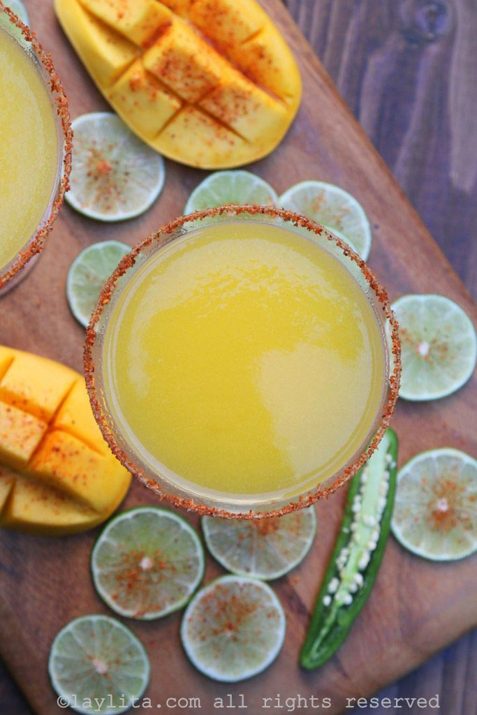 Spicy mango margaritas with serrano tequila