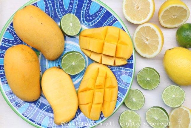 Ingredients for mango lemonade or mango limeade