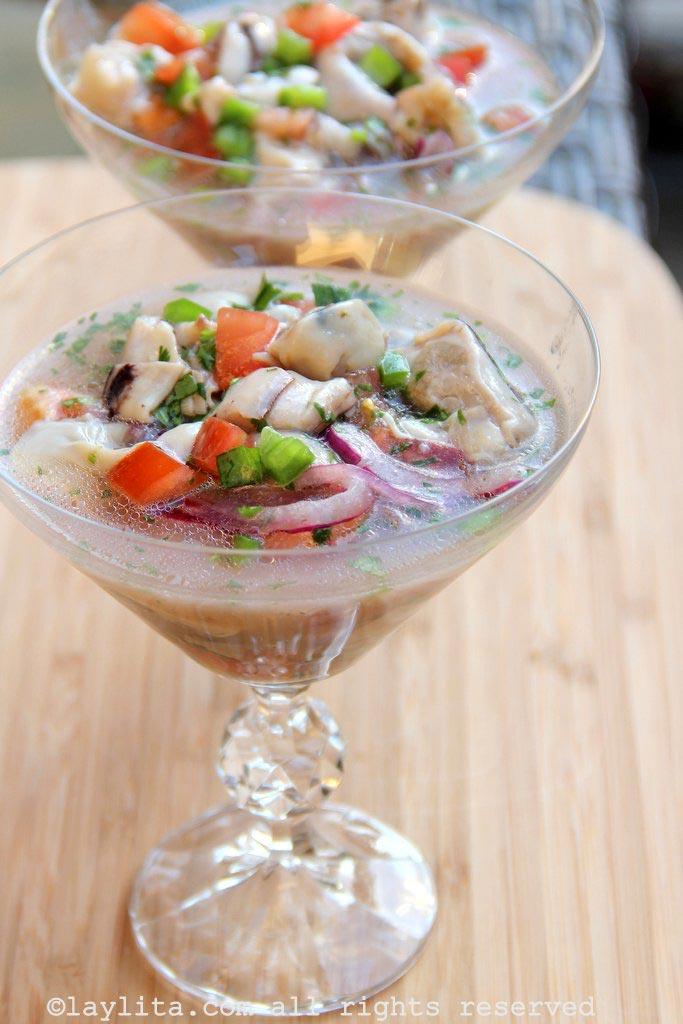 Oyster ceviche or ceviche de ostras