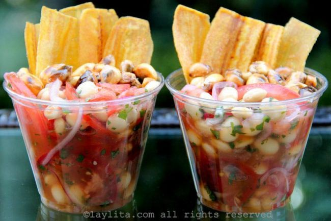 Vegetarian ceviche made with chochos, lupini, tarwi o altramuz beans