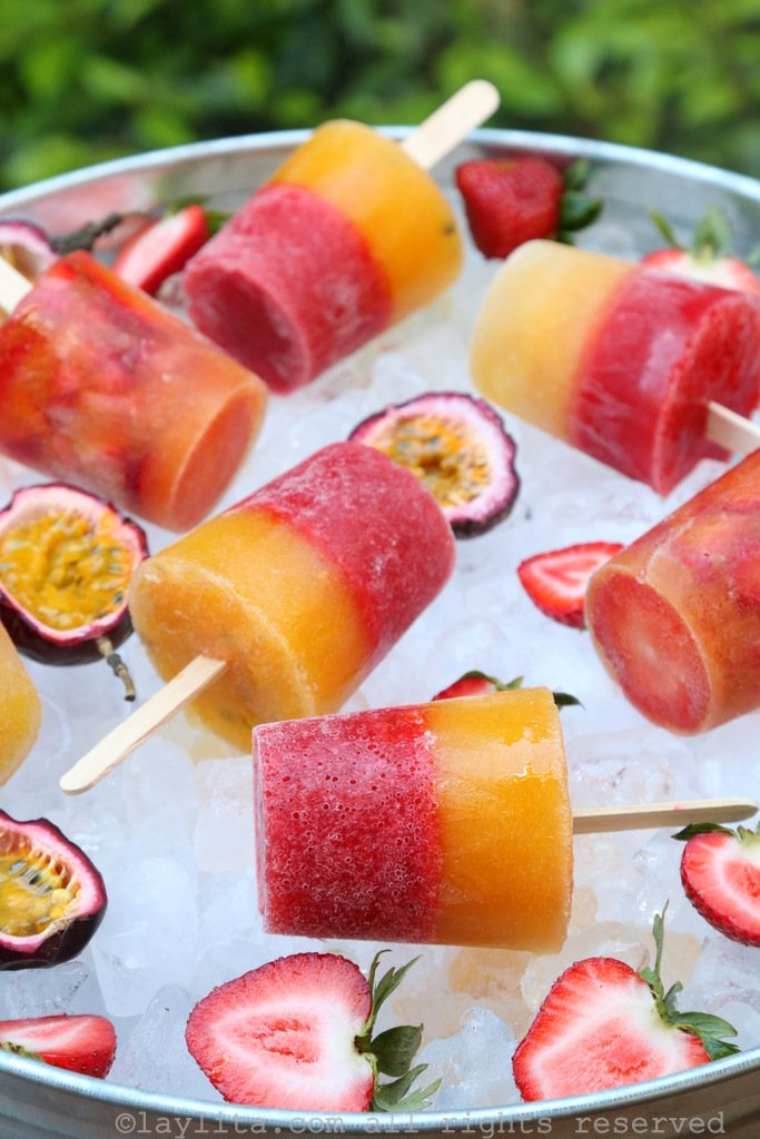 Passion fruit strawberry popsicles