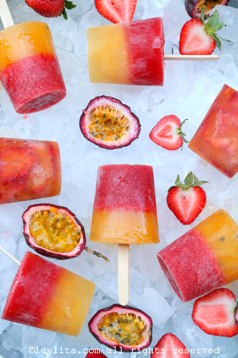 Strawberry passion fruit paletas