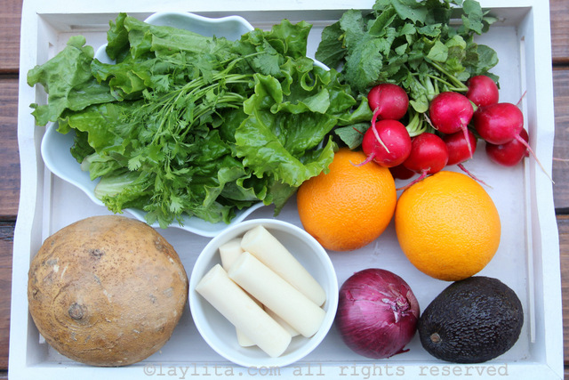 Ingredients for Latin chopped salad with hearts of palm