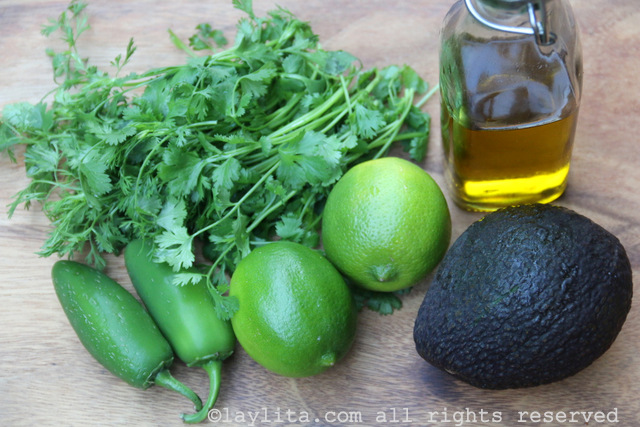 Ingredients for the avocado cilantro lime dressing