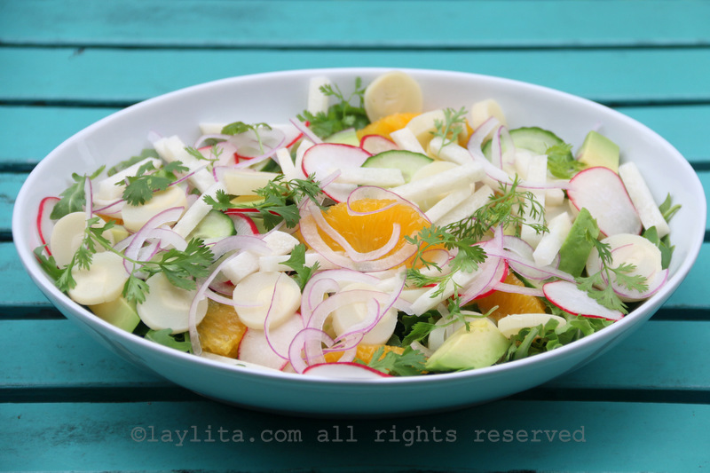 This chopped salad with hearts of palms can also be made in a bowl