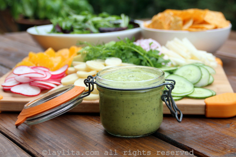 Creamy avocado salad dressing {with lime and cilantro}