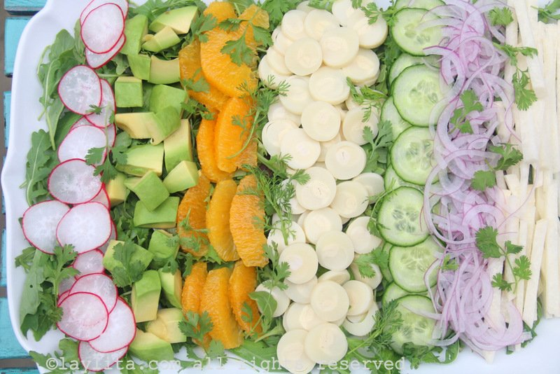 Latin chopped salad with hearts of palm, jicama, and avocado