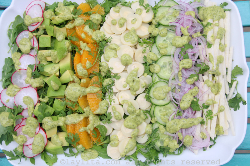Latin chopped salad with hearts of palm and avocado dressing