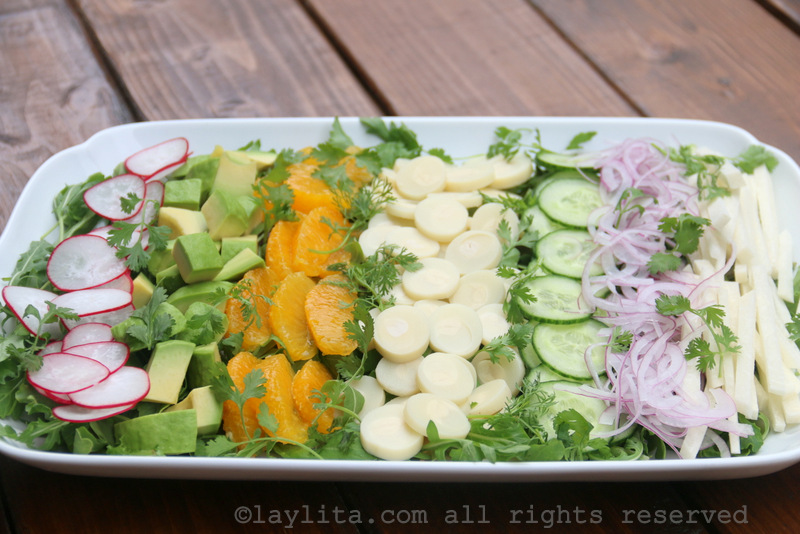Salad with hearts of palm, jicama, avocado, and more