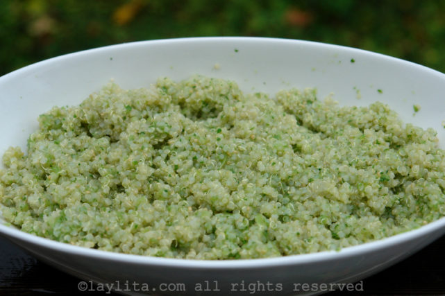 Quinoa with tomatillo and cilantro sauce