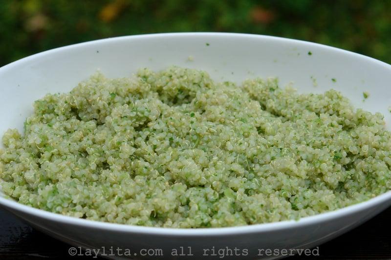 Quinoa with tomatillo and cilantro sauce