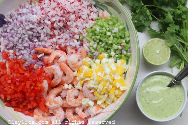 Ingredients for shrimp salad with cilantro mayonnaise