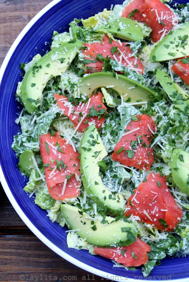 Avocado and smoked salmon caesar salad