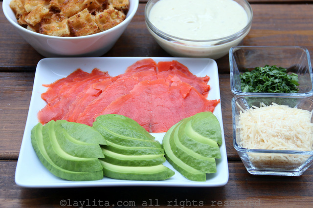 Avocado and smoked salmon for caesar salad