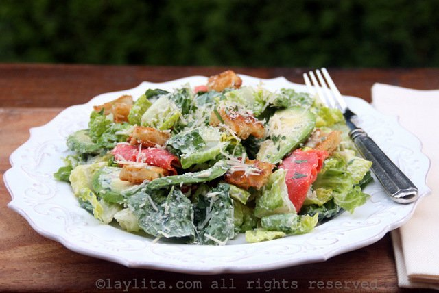 Caesar salad with smoked salmon and avocado