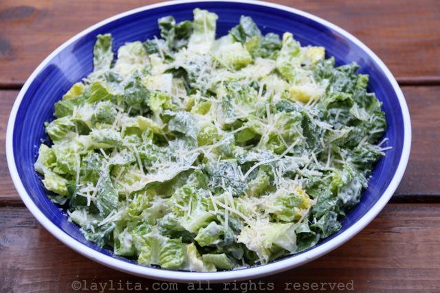Caesar salad with yogurt dressing