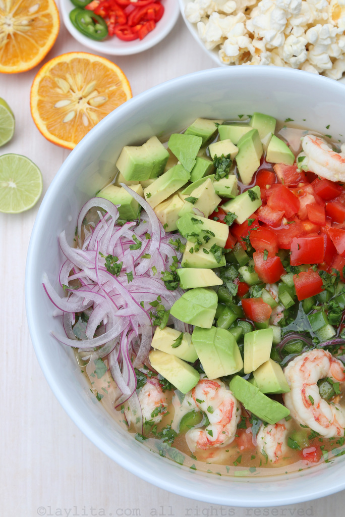 Ceviche made with shrimp, avocado, and sour orange juice