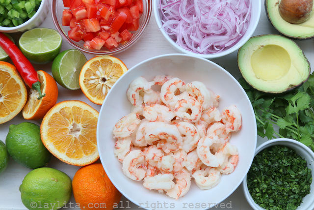 Ingredients for shrimp and avocado ceviche