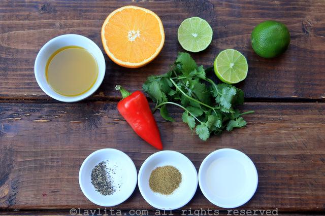 Ingredients for spicy orange vinaigrette