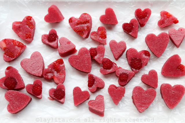 Fresh strawberry raspberry gelatin hearts